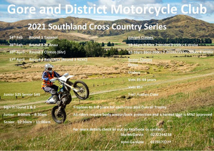 Gore & District MCC-Southland Cross Country Series 2021